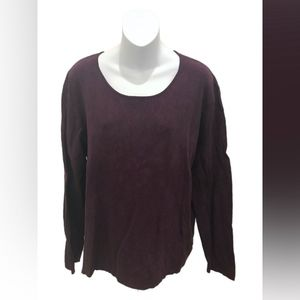 Chico's Plum Long Sleeve Silk Top